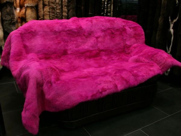 Langhaar Kaninchen Felldecke in pink