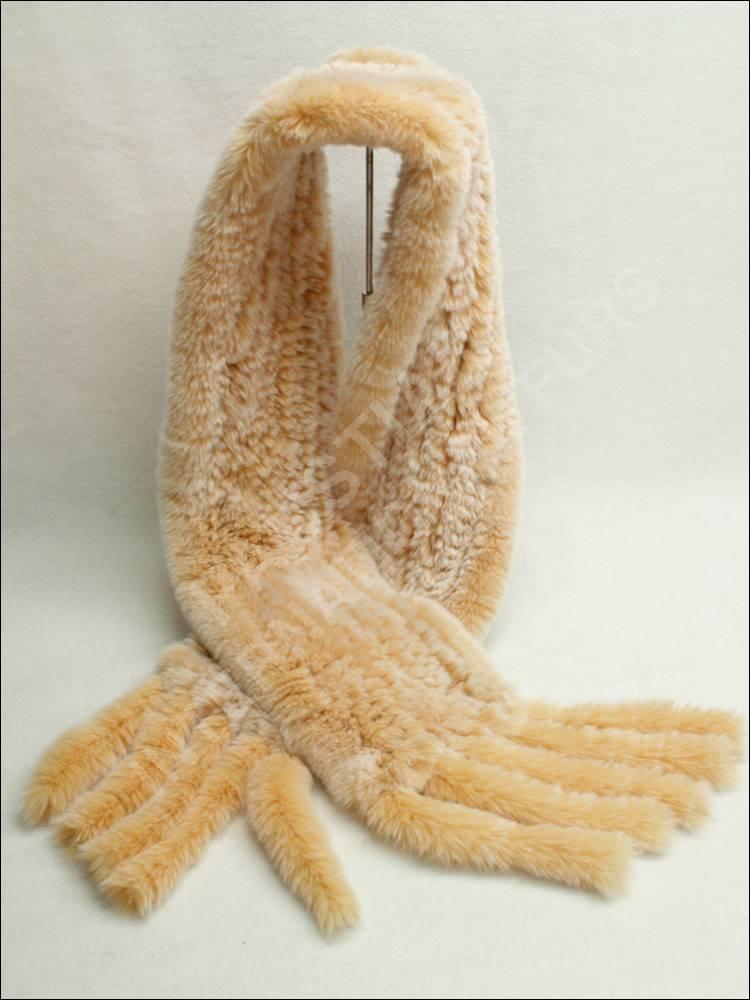 578 rexkanin pelzschal gewebt in beige fellschal schal ebay. Black Bedroom Furniture Sets. Home Design Ideas