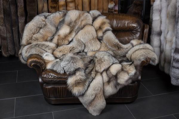 Smokey Fuchs Pelzdecke dunkelbeige (SAGA Fur)