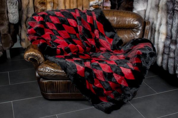 Echtpelz Kaninchendecke - rot-schwarz