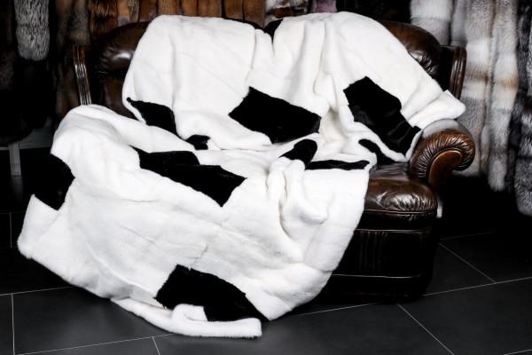 Echtpelz Nerzdecke - Schwarz-Weiß