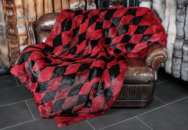 Kanichendecke in rot-schwarz