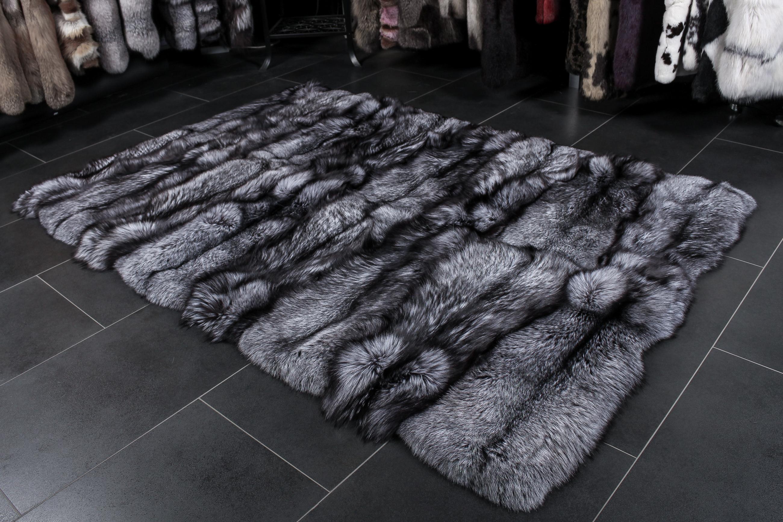 Silberfuchs Teppich Echtpelz