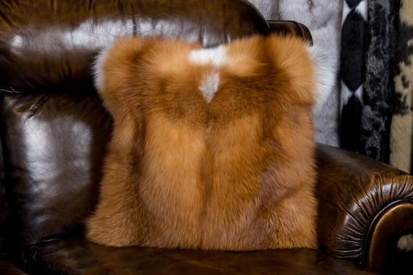 Rotfuchskissen aus kanadischen Füchsen - doppelseitiges Fell