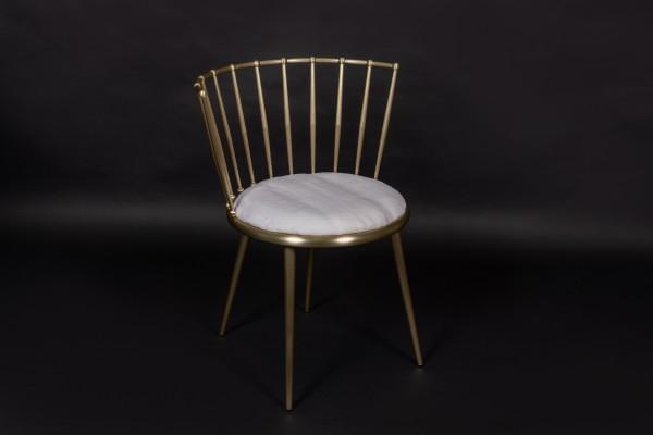 Edler Weiß Goldener Stuhl aus Gerupften Nerz