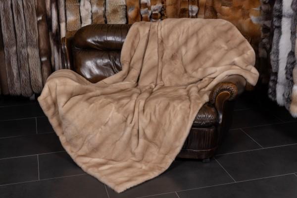 Echtpelz Decke aus Pastell Nerzen