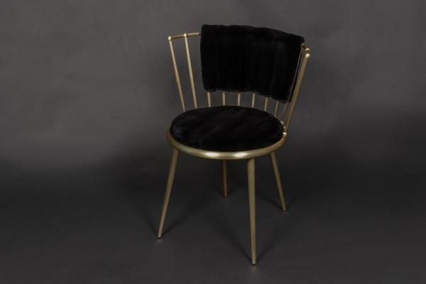 Gerupfter Nerz Stuhl in Schwarz - Cantori