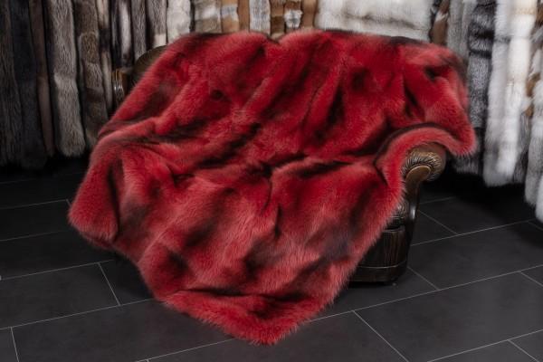 Waschbär Felldecke in Rot aus Kanadischen Waschbären