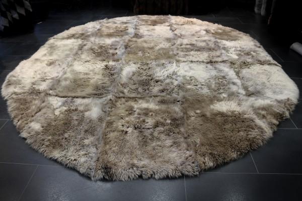 Lammfell Teppich braun mit weißen Spitzen