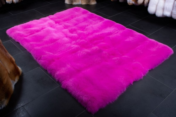 Pinker Shadow Fuchs Fellteppich aus Echtpelz