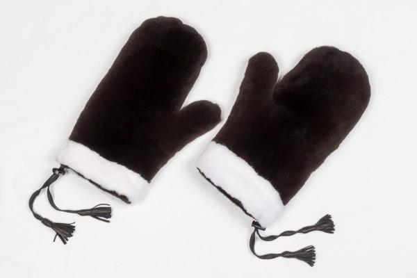 Doppelseitige Nerzhandschuhe in braun-weiß