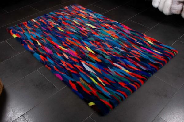 Echtfell Nerzteppich aus Nerzschweifen - Multicolor