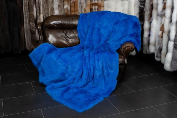 Royalblaue Kaninchen Echtpelz Decke