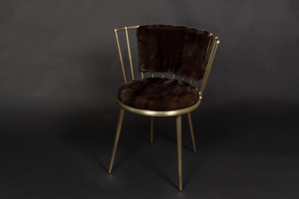 Mahagoni Nerz Stuhl in Braun mit Rückfell