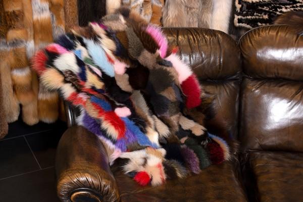 Echtfell Fuchsstücken Plaid aus Echt Pelz