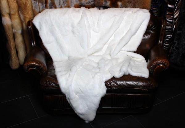 Leichte Kaninchen Felldecke in weiß
