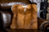 Rotfuchs Kissen aus kanadischem Echtfell - doppelseitiges Fell