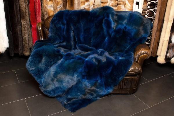 Flauschige Echtpelz Rotfuchs Decke in Meeresblau