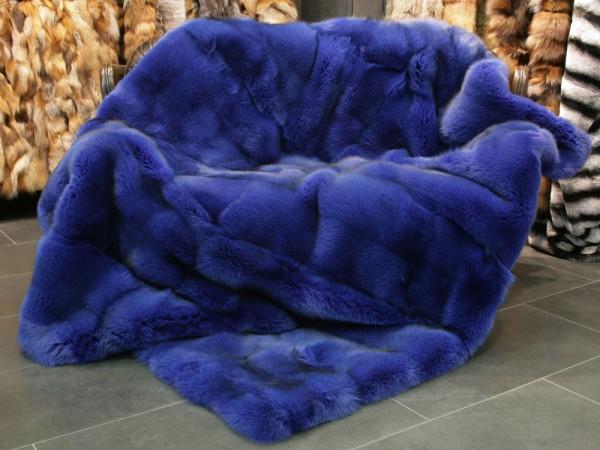 Blaufuchs Pelzdecke blau gefärbt - SAGA Qualität