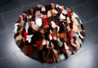 Runder Pelzteppich aus Blaufuchs - Multicolor