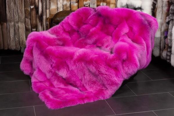 Arctic Marble Frost Fuchsdecke in Pink aus Echtpelz