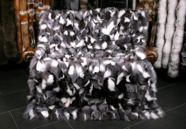 Fuchsstücken Pelzdecke Schwarz-Weiß - Echtfell