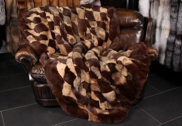 Kaninchenfell Decke in Patchwork-Design