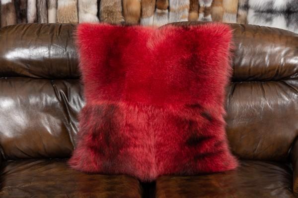 Waschbär Echtfell Kissen in Rot