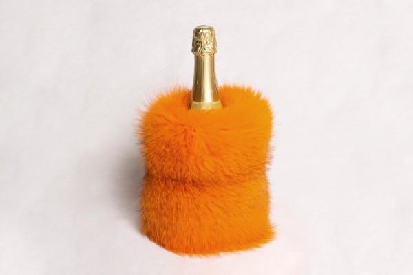 Rotfuchs Echtpelz Sekt Kühler in Orange