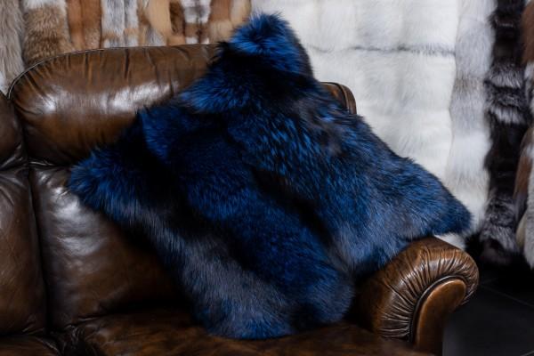 Silberfuchs Echtpelz Kissen in Royalblau