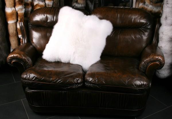 Weißes Shadow Fuchsfell Pelzkissen (SAGA Fur)