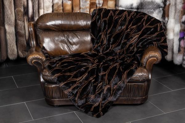 Echtfell Nerzdecke in schwarz-braun