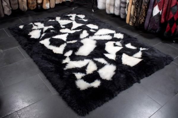 Australischer Lammfell Pelzteppich schwarz weiß