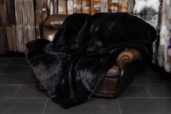 Kanadische Biber Felldecke in schwarz