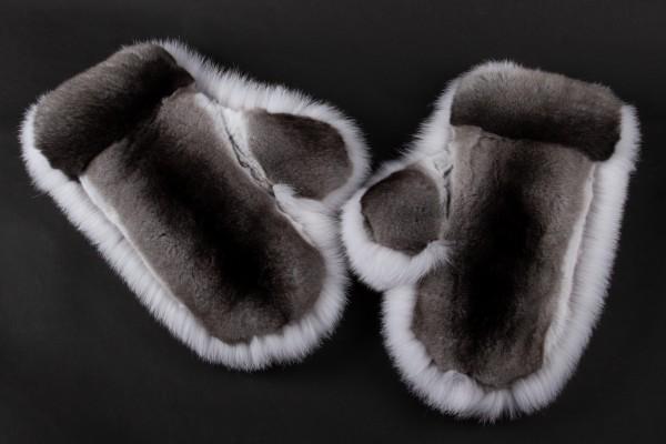 Blaufuchs Handschuhe mit Chinchilla Echtpelz