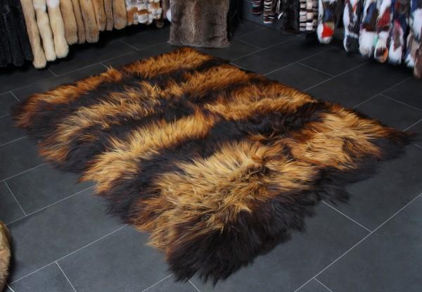 Feuriger Lammfell Teppich in Schwarz Beige