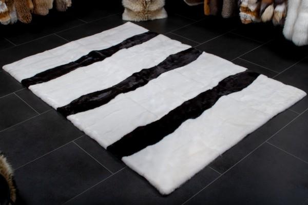 Echtpelz Nerzteppich in Schwarz - Weiß