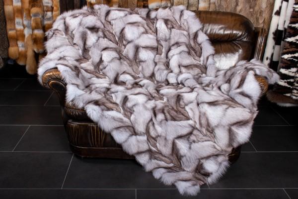 Blaufuchs Pfoten Echtfell Decke - Naturell