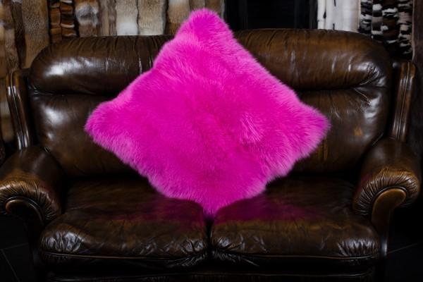 Pinkes Shadow Fuchsfell Kissen aus Echtpelz