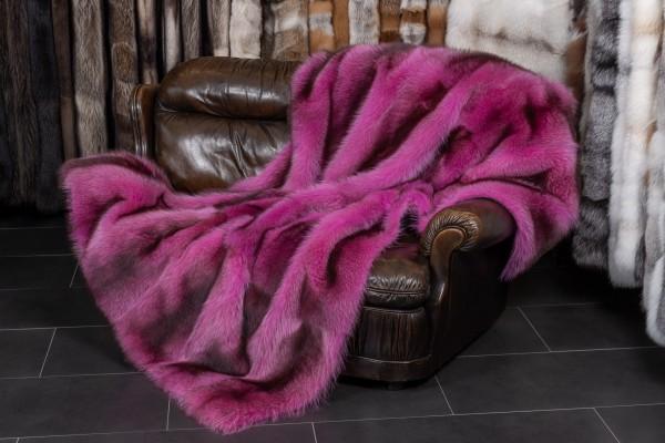 Pinke Waschbär Felldecke aus Kanadischen Waschbären