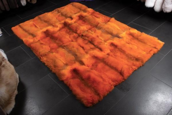 Europäischer Rotfuchs Pelzteppich in Orange aus Echtfell