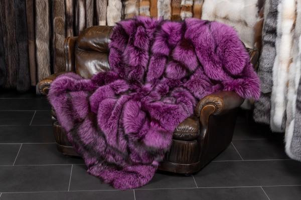 Echtpelz Decke aus Skandinavischen Silberfüchsen in Pink