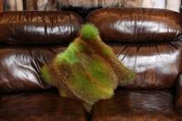 Echtpelz Fellkissen aus Europäischem Rotfuchs in Grün