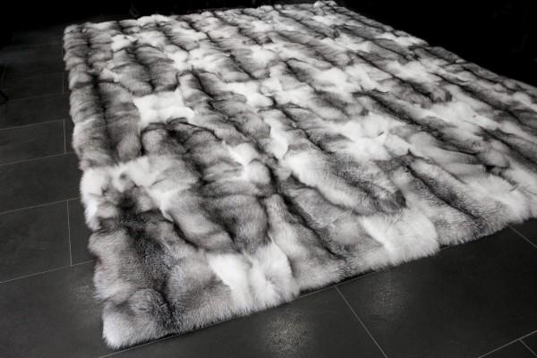 Echtpelz Teppich aus Blue Shadow Frost Füchsen