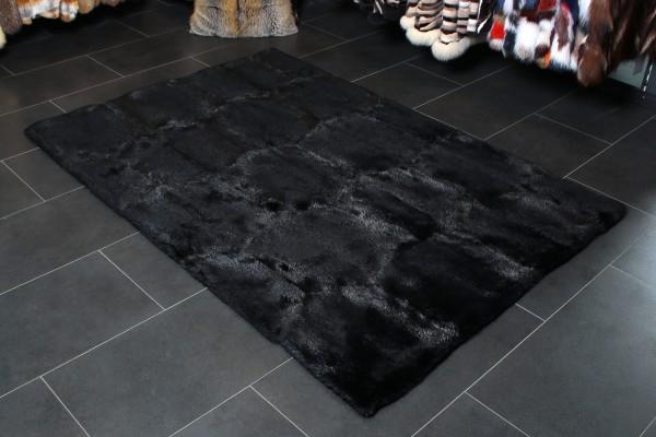 Kanadischer Biber Echtfell Teppich in Schwarz
