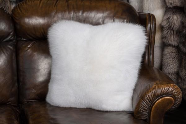 Weißes Shadow Fuchs Fellkissen mit doppelseitig Fell