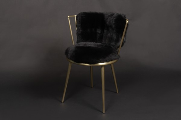 Skandinavischer Shadow Fuchs Stuhl in schwarz-gold
