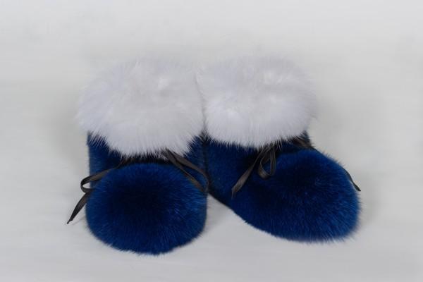 Pelz Schuhe aus Blaufuchs und Shadowfuchs