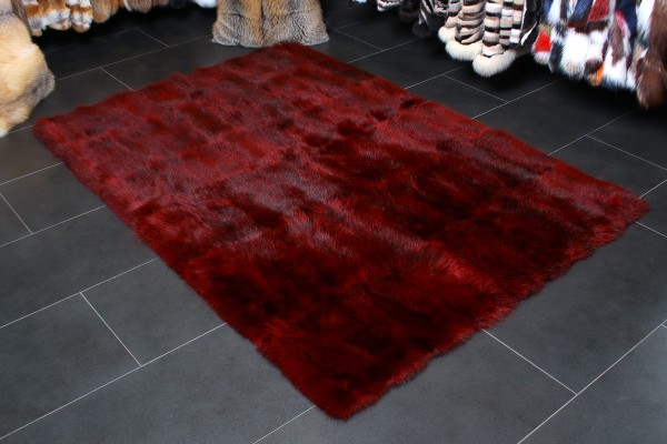 Opossum Echtpelz Teppich in Rot