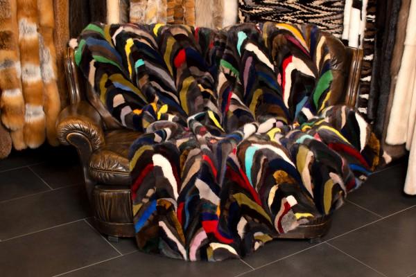 Besondere Patchwork Nerz Decke in Multicolor